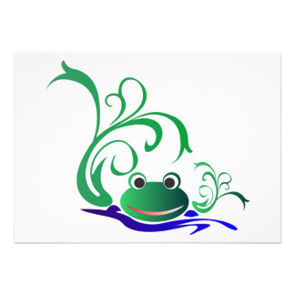 frog-471669 CARTOON CUTE FROG frog water green pon Custom Invites
