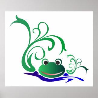 frog-471669 CARTOON CUTE FROG frog water green pon Print