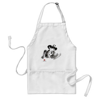 Frog, a traditional Sumi-e Ink Painting Apron