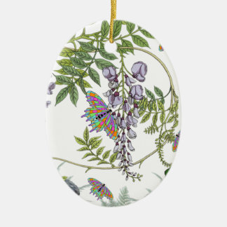 FROG AND BUTTERFLIES CERAMIC OVAL DECORATION