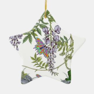 FROG AND BUTTERFLIES CERAMIC STAR DECORATION