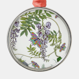 FROG AND BUTTERFLIES Silver-Colored ROUND DECORATION