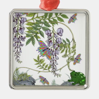 FROG AND BUTTERFLIES Silver-Colored SQUARE DECORATION