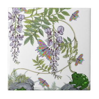 FROG AND BUTTERFLIES SMALL SQUARE TILE
