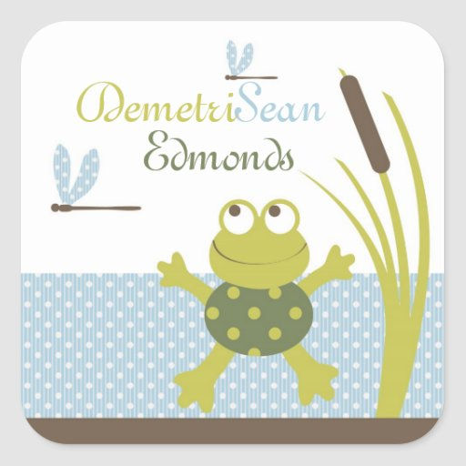 Frog and Dragonfly Baby Shower Square Stickers