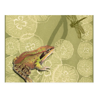 Frog and Dragonfly on Water Lilies Postcard