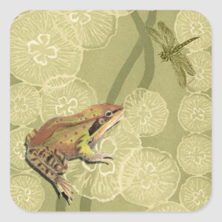 Frog and Dragonfly on Water Lilies Square Sticker