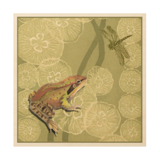 Frog and Dragonfly on Water Lilies Wood Wall Decor