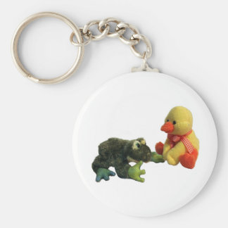 Frog and Duck Basic Round Button Key Ring