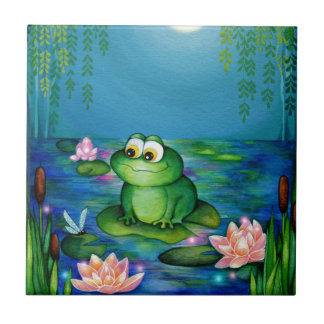 Frog and Lily Pond Small Square Tile