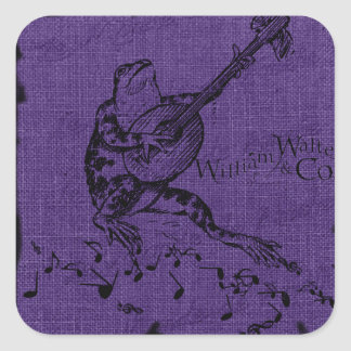 Frog and Lute Purple Sticker