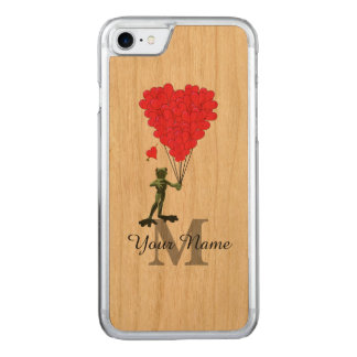 Frog and red heart monogram carved iPhone 7 case