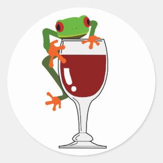 Frog and Wine Round Sticker