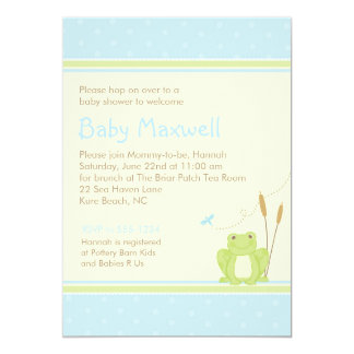 Frog Baby Boy Shower Invitation - Blue and Green