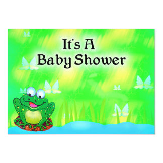 """Frog Baby Shower 5"""" X 7"""" Invitation Card"""