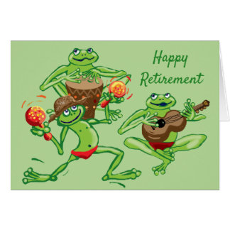 Frog band Happy Retirement Card