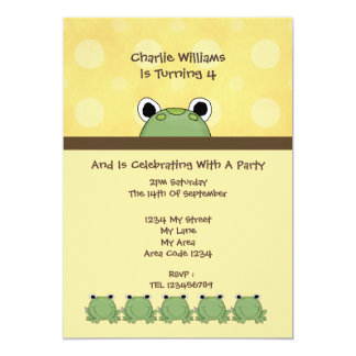 Frog Birthday Party Card