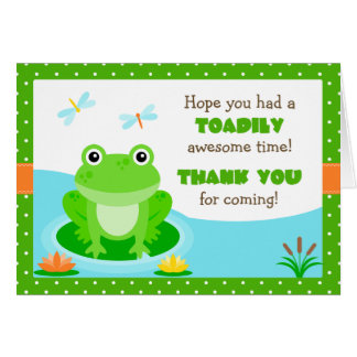 Frog Birthday Party Thank You Card