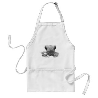 Frog Black and White Sketch Apron