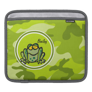 Frog; bright green camo, camouflage iPad sleeve