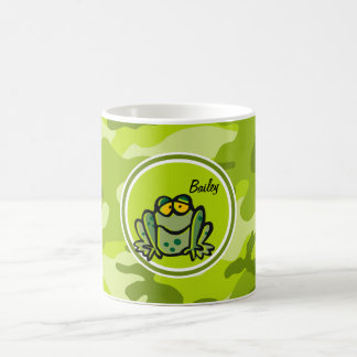 Frog; bright green camo, camouflage coffee mugs