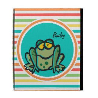 Frog Bright Rainbow Stripes iPad Folio Covers