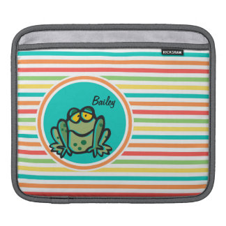 Frog Bright Rainbow Stripes Sleeves For iPads