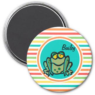 Frog Bright Rainbow Stripes Refrigerator Magnets
