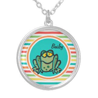 Frog Bright Rainbow Stripes Jewelry