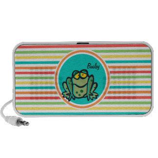 Frog Bright Rainbow Stripes iPhone Speaker