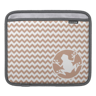 Frog; Brown Chevron Sleeve For iPads