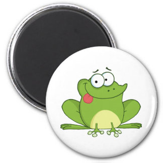 Frog Cartoon Character Hanging Its Tongue Out 6 Cm Round Magnet