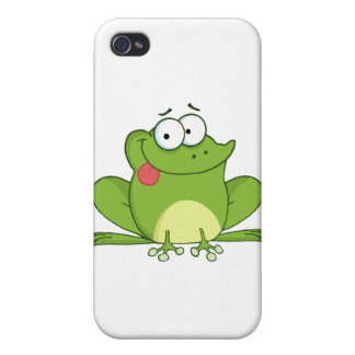Frog Cartoon Character Hanging Its Tongue Out iPhone 4 Covers