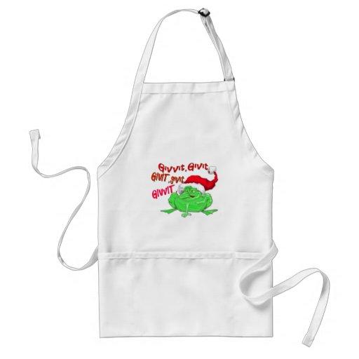 Frog cartoon with frog santa hat givit givit givit apron