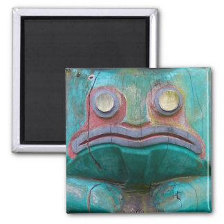 Frog Carving Square Magnet
