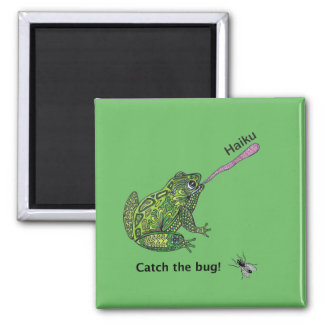 Frog catches the haiku bug! square magnet