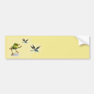 Frog Chasing Dragonfly Bumper Sticker