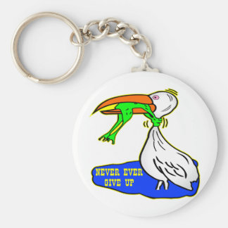 Frog Choking Bird Never Ever Give Up Basic Round Button Key Ring