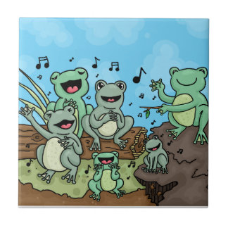 Frog Chorus Small Square Tile