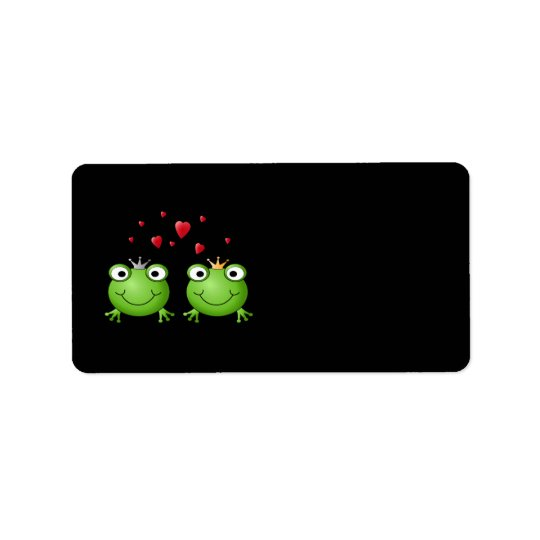 Frog Couple with hearts. Address Label
