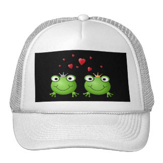 Frog Couple with hearts. Cap