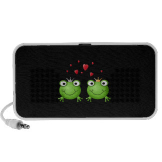 Frog Couple with hearts. Laptop Speakers