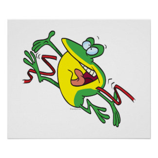 frog crossing finish line cartoon poster