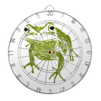 frog dartboard with darts
