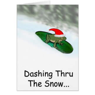 Frog Dashing Through the Snow on a Lily Pad Card