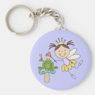 Frog Fairy Magic - Brunette Tshirts and Gifts Basic Round Button Key Ring