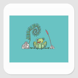 Frog, Fern and Bullrush Square Sticker
