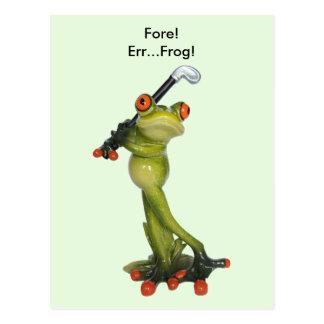 Frog Figurine Golfer Postcard