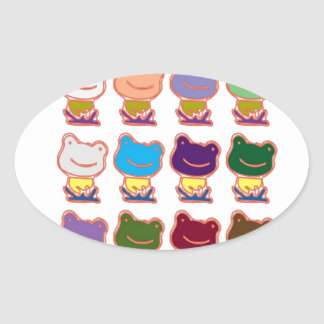 FROG FROGGY PATTERN OVAL STICKERS