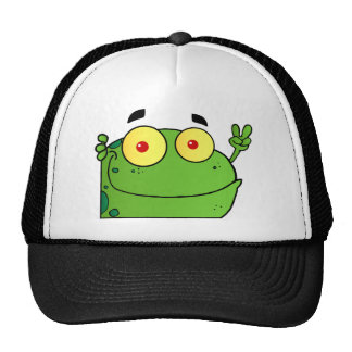 Frog Gesturing The Peace Sign Mesh Hats